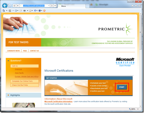 Prometric: Microsoft Certification